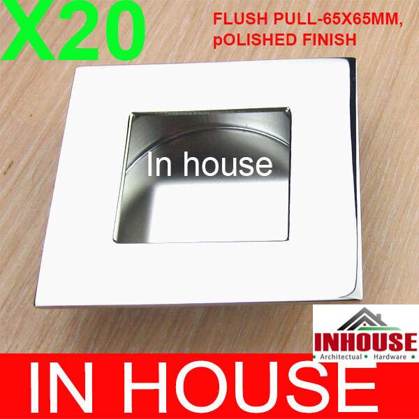 20x Stainless steel Flush pull handles Sliding Door Pull Handle chrome 65x65mm