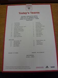 18-10-2013-Fulham-U21-v-Newcastle-United-U21-single-sheet-teamsheet-Thanks-f