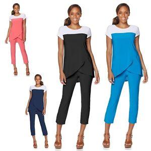 c7cc4a2e6b0 $89.00 Slinky Brand Colorblock Wrap Tunic & Crop Pant Set 491788J (3X)  $55.90
