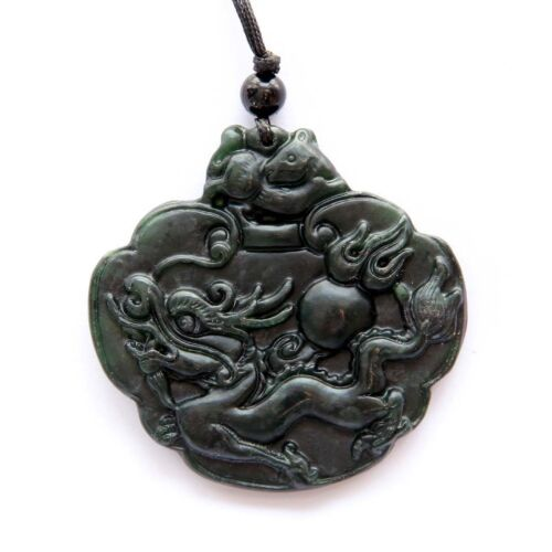 Happy Lucky Dragon Pearl Rat Black Green Jade Amulet Pendant Talisman