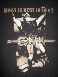 CONAN-The-Barbarian-ARNOLD-SCHWARZENEGGER-034-What-is-Best-in-Life-034-XL-T-Shirt
