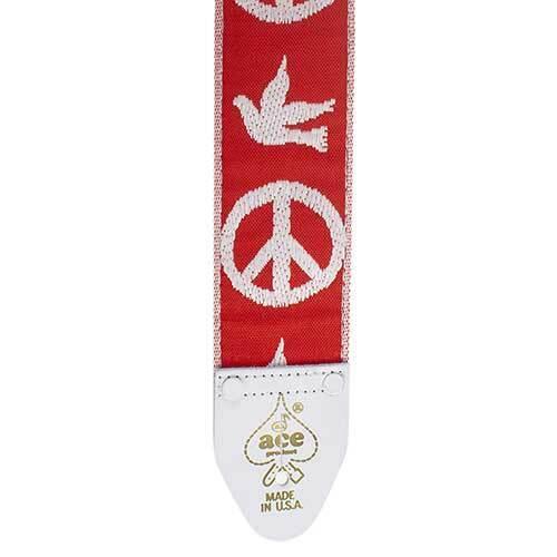 06 Red Peace Doves D/'Andrea Ace Vintage Reissue Guitar Strap
