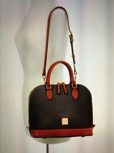Dooney-and-Bourke-Zip-Zip-Sacthel-handbag-Purse-Handbag-Women-039-s-accessory-Brn