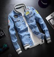 Mens Outwear Denim Retro Coat Striped Cotton Vintage Jacket US 3XL 2XL XL L M S