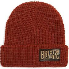 Brixton Coventry Beanie Rust Red Cuffed Cuff Waffle Hat Cap 100% Acrylic New NWT