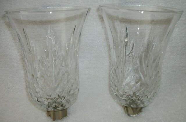 New 4-Clear Glass Votive Candle Cup Holder Pegged Home Interiors Etched Wheat