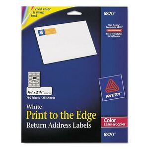Avery color printing return address labels 6870 ebay for Colored mailing labels