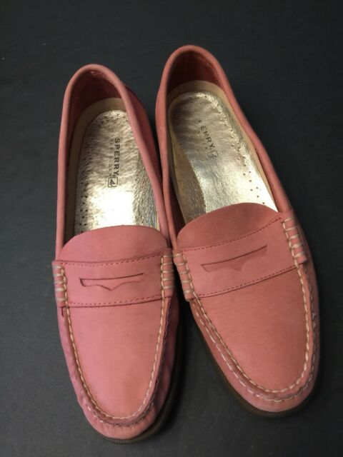 Sperry Top Siders Women's Seaport Penny Loafers Pink Suede ...