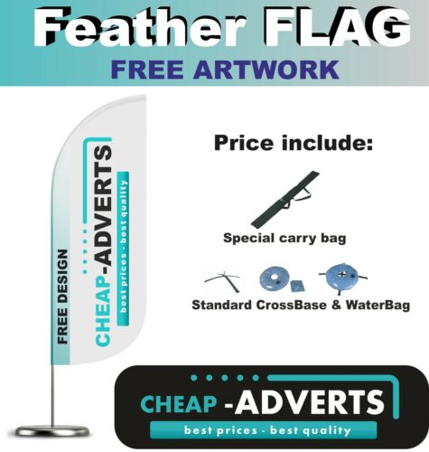 FEATHER FLAGS FREE ARTWORK 510cm Flag Outdoor Advertising