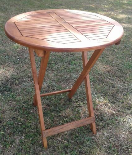 forestfox outdoor folding table from hard wood 75cm high 60cm in diameter ebay - Outdoor Folding Table