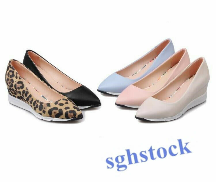 2019 Women pu Loafer Casaul Slip On pointy toe wedge low heel pointy leopard T65
