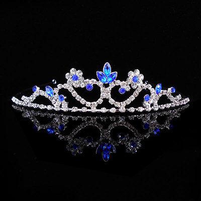 Kids Royal Blue Flower Girl Children Wedding Prom Tiara Crown Headband  Kid Size