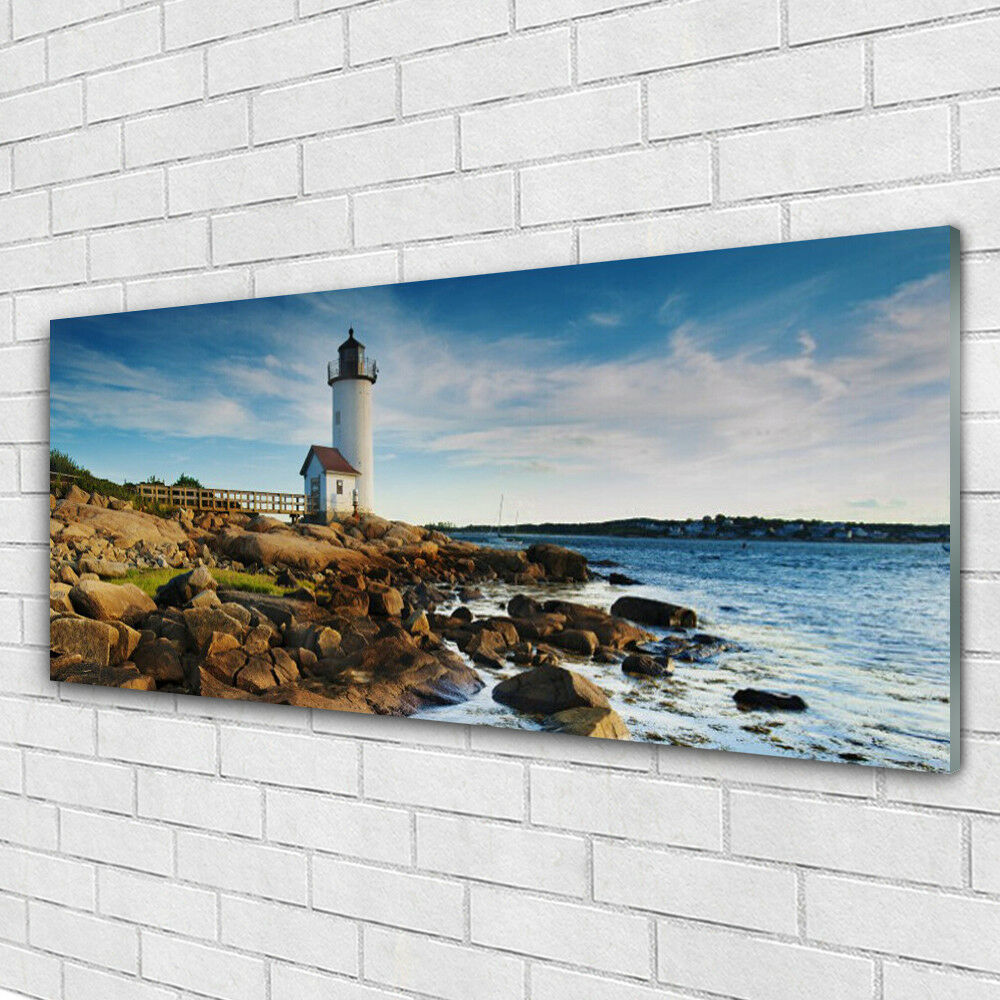 Tableau murale Impression sous verre 125x50 Paysage Phare Roches Mer