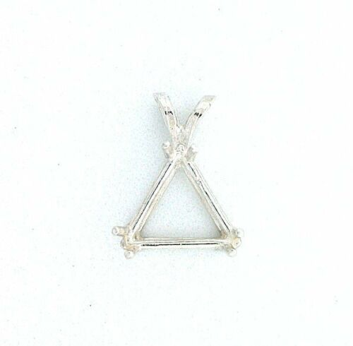 Sterling Silver 8mm Trilliant Triangle Faceted Gem Prenotched Pendant Mounting