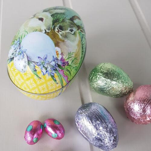 Traditional Tin œuf de Pâques Récipient Avec LAPINS /& OEUFS par Gisela Graham