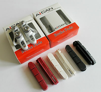 Aican Road Bike brake Light Weight pads shoes catridge for Shimano Silver,2 pair