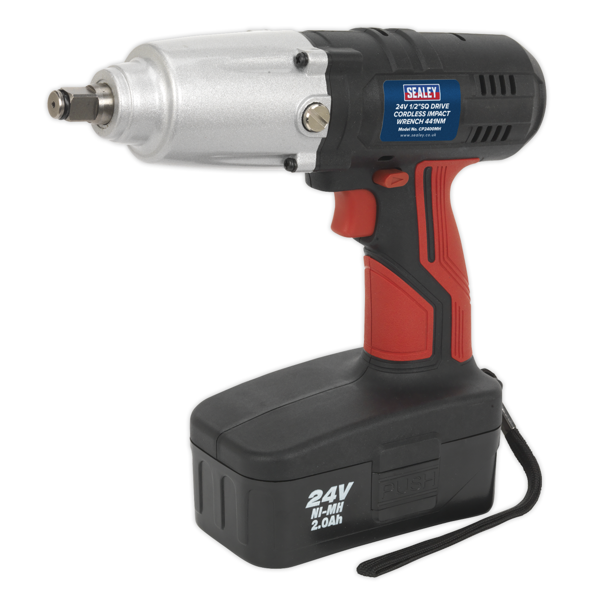 Cordless Impact Wrench 24V 2Ah Ni-MH 1 2 Sq Drive 441Nm   SEALEY CP2400MH by Sea