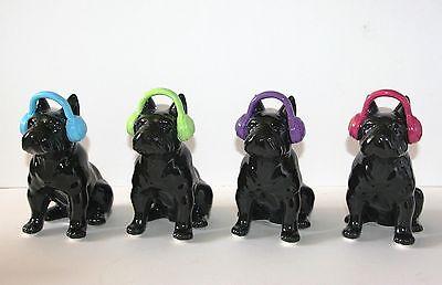Ornament *NEW* Boxed Black BULLDOG with Headphones Blue Green Purple Pink