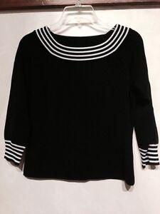 Cable Amp Gauge Women S Knit Tops Blouse Black Size S L Ebay