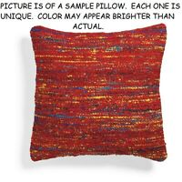 Grandin Road Sari Red Throw Pillow Size 18 X 18 Nubby Woven Texture