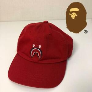 A-BATHING-APE-BAPE-HAT-CAP-SHARK-RED-RARE-FASHION-BRAND-MADE-IN-JAPAN-F-S-USED