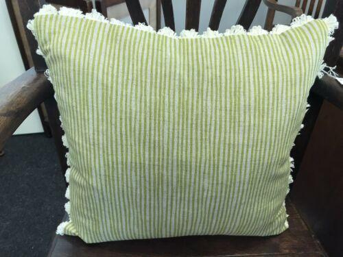 "Square Green Stripe 16"" x 16"" Handmade Sam Wilson Fabric Cushion  Cover"