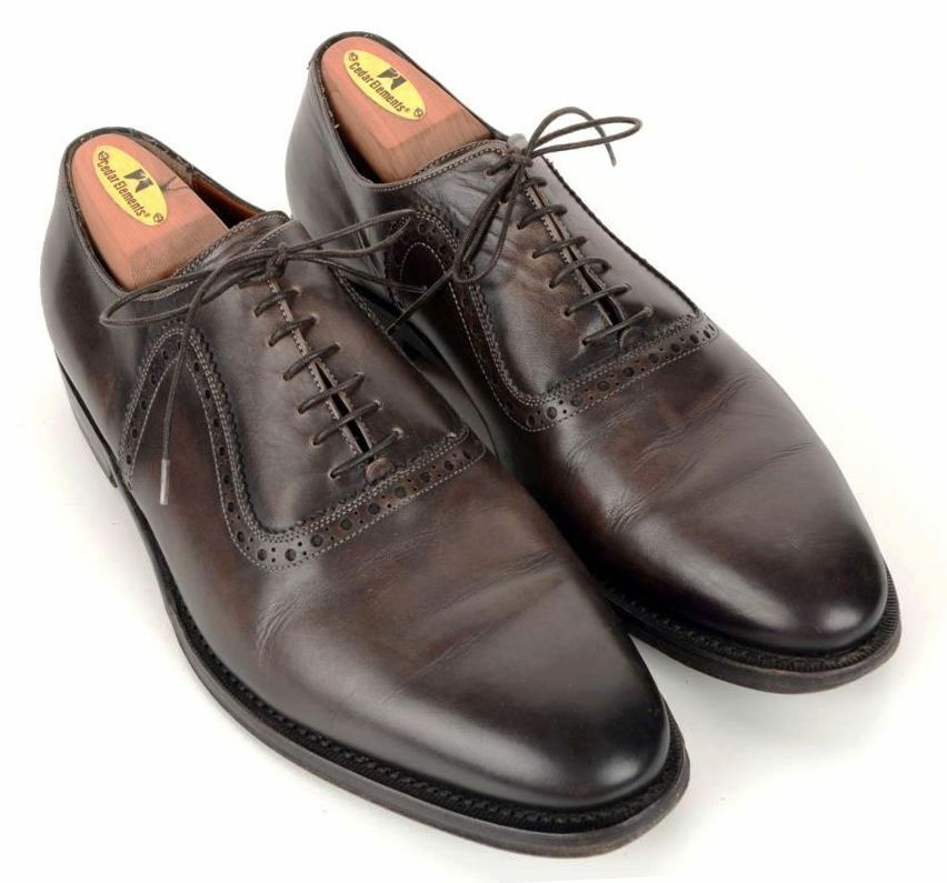 BATTISTONI Brown Solid Leather Mens Oxford Dress shoes - UK 8, Approx US 8.5