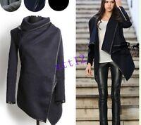 Winter New Women's Windbreaker Woolent Jacket Asymmetric Slim Leather Trim Coats