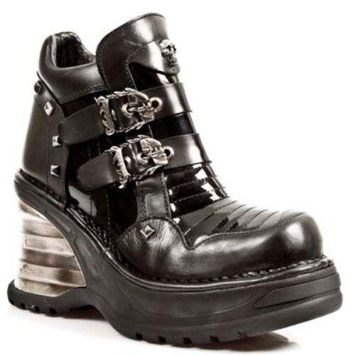 Newrock M. 8330 S1 Black-New Rock Punk Gothic Biker Boots-Para Mujer
