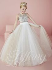 Tiffany 13476 Fall 2016 Ivory Champagne Girls Pageant Gown Dress sz 14