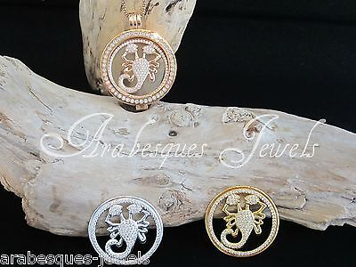 LARGE CRYSTAL SCORPION COIN/MONEDA FOR GENUINE MI STERLINA MILANO PENDANT/KEEPER