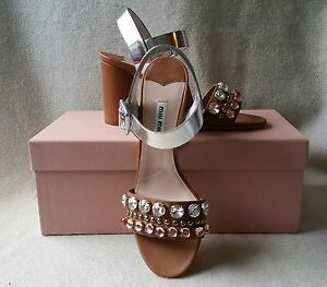 afbc0e27ee NIB Miu Miu Prada 38 Jeweled Crystal Block heel Leather Sandal ...