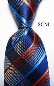 New-Classic-Checks-Blue-White-Orange-JACQUARD-WOVEN-100-Silk-Men-039-s-Tie-Necktie