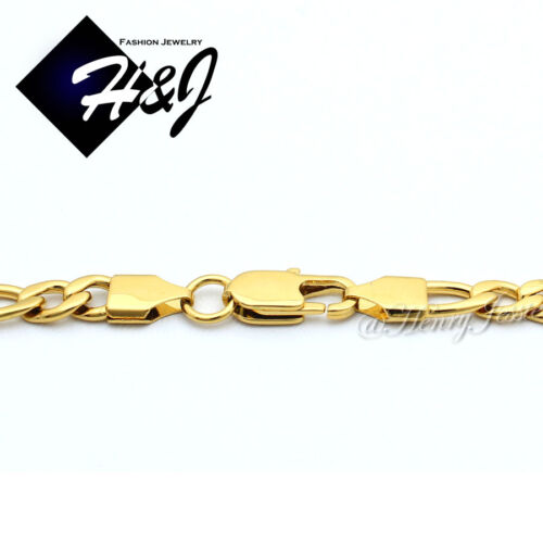 """18-40/""""MEN Stainless Steel 5.5mm Gold Figaro Link Chain Necklace LION Pendant*P50"""