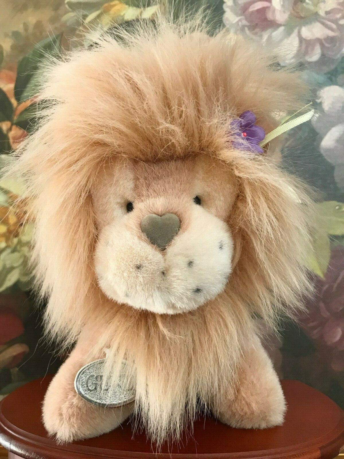 Gund 1990 LION  HEART LION Stuffed Plush Heart Nose Flower Mane Retirot 8
