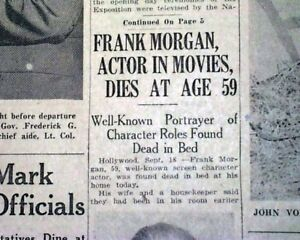 """FRANK MORGAN Movie Actor """"Wizard of Oz"""" Characters Fame DEATH 1949 Old Newspaper"""