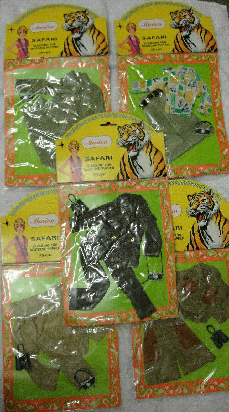 VINTAGE Marion Fashion Doll Set  Safari vestiti per bambole moderno 29cm 5 Set