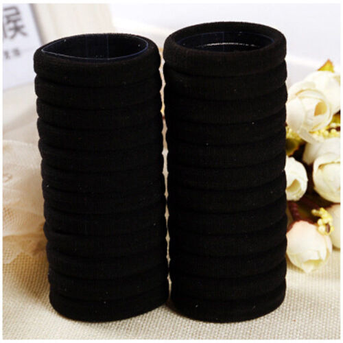 Black 50pcs Women Elastic Hair Ties Band Ropes Ring Ponytail Holder Accessories