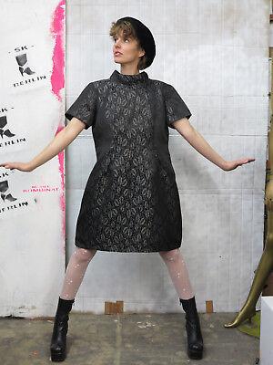 Abito Nero Argento Donna Abito Glitter Capodanno 60er Truevintage Party Dress-