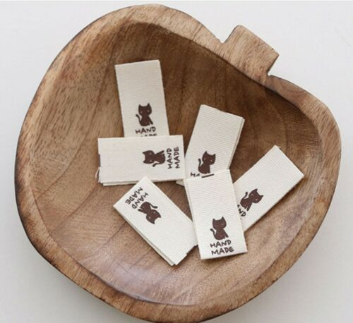 12 //24 x Little Cat Fabric Labels HAND MADE Label Sew on craft handmade JLa54