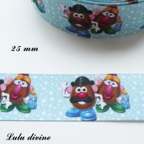Ruban gros grain bleu étoiles blanches Toy Story M /& Mme Patate 25 mm au mètre