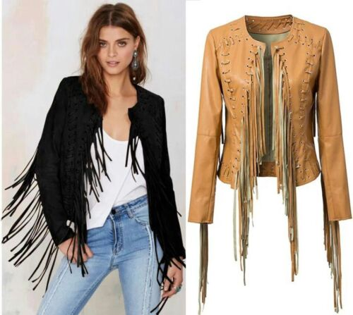 Western Jacket Coat Cow Wear Vintage Long lady Fringe Leather Women 1wpqCgp