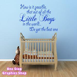 BEST LITTLE BOY WALL ART QUOTE STICKER - BABY KIDS BOY ...