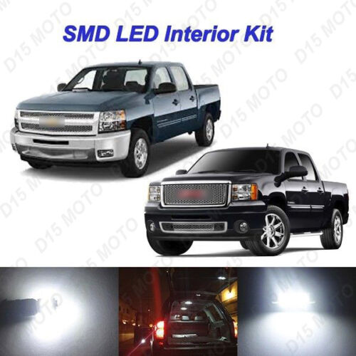 16 x White LED Interior Fog Reverse Tag Bulbs Lights For 07-13 Silverado Sierra