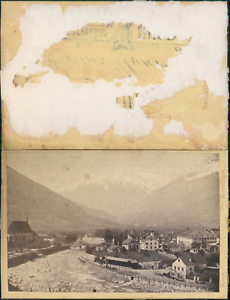 Moosbrugger, Italie, vue de Mérano Vintage CDV albumen carte de visite CDV,