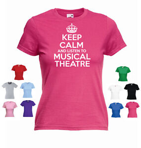 /'Keep Calm and listen to Musical theatre/' Ladies Music Genre T-shirt