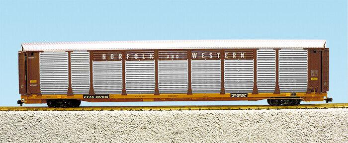 USA  Trains G Scale BI LEVEL AUTO voitureRIER R17194 Norfolk & Western marron jaune  articles promotionnels