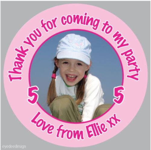 151 Personalised Girls Birthday Party Photo Stickers Christening Sweet Cone