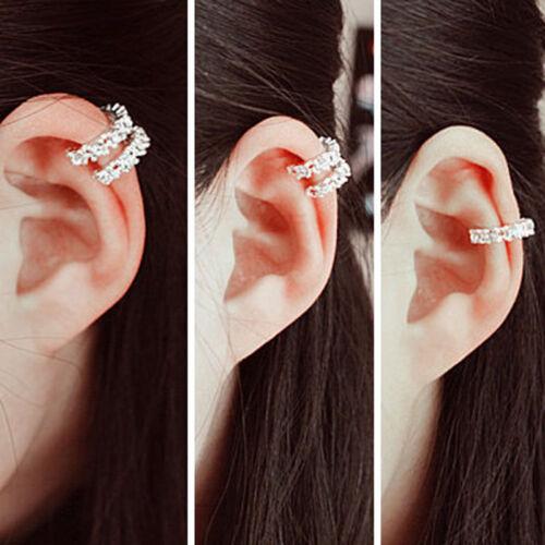 Fashion Silver Ear Cuff Wrap Rhinestone Cartilage Clip Earring Non PiercingCN