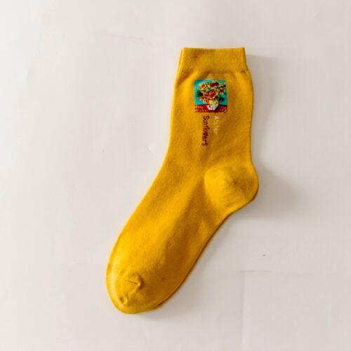 World Famous Painting Mona Lisa Starry Night Shout Kiss Woman Cotton Tube Socks